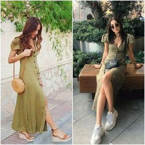 ZARA Olive Green 100% Linen Maxi Dress REF:4437/24